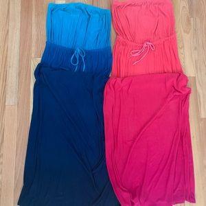 (2) Strapless Maxi Dresses